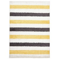Rug Culture Stencil Shag Flooring Rugs Area Carpet Yellow Charcoal White 290x200cm
