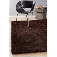 Rug Culture Metallic Noodle Shag Flooring Rugs Area Carpet Choc Brown 225x155cm