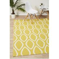 Rug Culture Flat Weave Oval Print Flooring Rugs Area Carpet Yellow 225x155cm