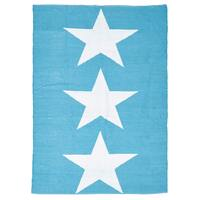 Rug Culture Coastal Indoor Out door Flooring Rugs Area Carpet Star Turquoise White 270x180cm