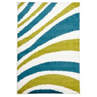 Rug Culture Burst Shag Flooring Rugs Area Carpet Blue and Green 290x200cm