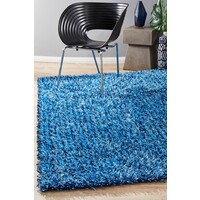Rug Culture Metallic Noodle Shag Flooring Rugs Area Carpet Blue  Navy 165x115cm