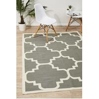 Rug Culture Flat Weave Large Moroccan Design Flooring Rugs Area Carpet Grey 280x190cm