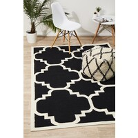 Rug Culture Flat Weave Large Moroccan Design Flooring Rugs Area Carpet Black 280x190cm