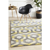 Irene Hive Modern Flooring Rug Area Carpet Yellow Grey 290x200cm