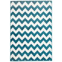 Rug Culture Indoor Outdoor Zig Zag Flooring Rugs Area Carpet Peacock Blue 290x200cm