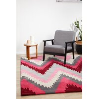 Ikat Chevron Pink Flooring Rug Area Carpet 225x155cm