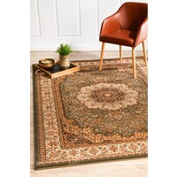 Rug Culture Stunning Formal Medallion Design Flooring Rugs Area Carpet Green 290x200cm