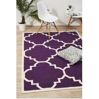 Rug Culture Flat Weave Large Moroccan Design Flooring Rugs Area Carpet Aubergine 280x190cm