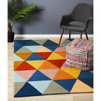Rug Culture Prism Designer Wool Runner Rust Blue Navy 400x80cm