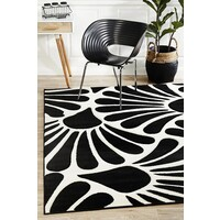 Rug Culture Damask Modern Fern Flooring Rugs Area Carpet Black White 330x240cm