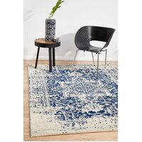 Rug Culture Horizon White Navy Transitional Flooring Rugs Area Carpet 400x300cm