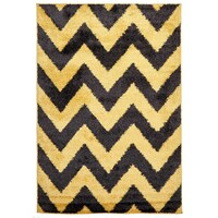 Rug Culture Ziggy Shag Flooring Rugs Area Carpet Yellow Charcoal 290x200cm