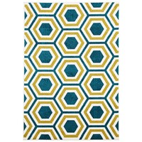 Rug Culture Indoor Outdoor Honeycomb Flooring Rugs Area Carpet Blue Citrus 290x200cm