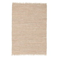 Bondi Leather and Jute Flooring Rug Area Carpet Nude Pink 220x150cm