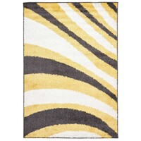Rug Culture Burst Shag Flooring Rugs Area Carpet Yellow and Charcoal 290x200cm