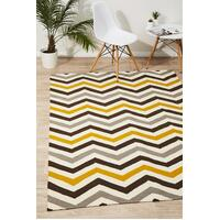 Rug Culture Flat Weave Design Flooring Rugs Area Carpet Yellow Brown 280x190cm