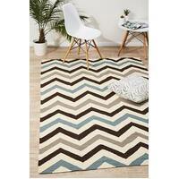Rug Culture Flat Weave Chevron Design Runner Blue Brown 400x80cm