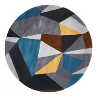 Rug Culture Laura Designer Wool Flooring Rugs Area Carpet Blue Yellow Grey 200x200cm