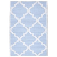 Rug Culture Coastal Indoor Out door Flooring Rugs Area Carpet Trellis Sky Blue White 270x180cm