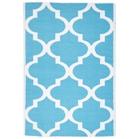 Rug Culture Coastal Indoor Out door Flooring Rugs Area Carpet Trellis Turquoise White 270x180cm