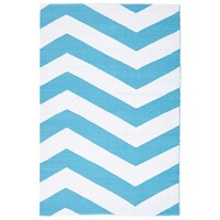 Rug Culture Coastal Indoor Out door Flooring Rugs Area Carpet Chevron Turquoise White 270x180cm
