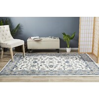 Rug Culture Classic Runner White with Beige Border 400x80cm