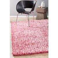 Metallic Noodle Shag Flooring Rug Area Carpet Pink  280x190cm