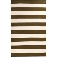 Rug Culture Flat Weave Stripe Olive White Flooring Rugs Area Carpet 280x190cm