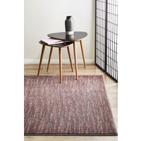 Rug Culture Pandora Contemporary Stripe Flooring Rugs Area Carpet Pink Grey 290x200cm