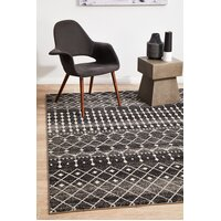 Rug Culture Simplicity Black Transitional Runner 300x80cm
