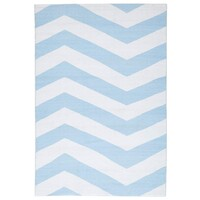 Rug Culture Coastal Indoor Out door Flooring Rugs Area Carpet Chevron Sky Blue White 270x180cm