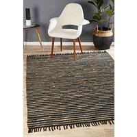 Bondi Leather and Jute Flooring Rug Area Carpet Natural Black 320x230cm