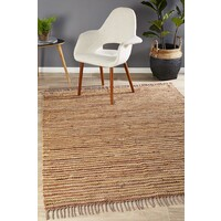 Bondi Leather and Jute Runner Brown 400x80cm