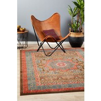 Antique Heriz Design Flooring Rug Area Carpet Brown Red Blue 330x240cm