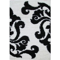 Rug Culture Damask Pattern Shag Flooring Rugs Area Carpet White Black 170x120cm