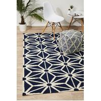 Rug Culture Dandelion Flat Weave Flooring Rugs Area Carpet Navy 225x155cm