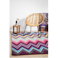 Eclectic Chevron Flooring Rug Area Carpet Multi Coloured 165x115cm