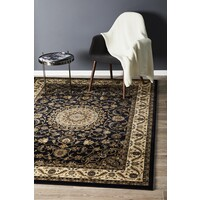 Rug Culture Medallion Flooring Rugs Area Carpet Blue with Ivory Border 170x120cm