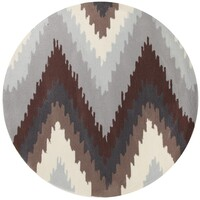 Ikat Chevron Beige Brown Flooring Rug Area Carpet 200x200cm