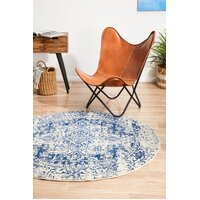 Rug Culture Horizon White Navy Transitional Flooring Rugs Area Carpet 240x240cm