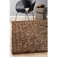 Rug Culture Metallic Noodle Shag Flooring Rugs Area Carpet Brown Beige 320x230cm