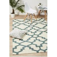 Rug Culture Flat Weave Trellis Design Light Blue White Runner 300x80cm