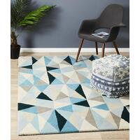 Rug Culture Gem Stone Designer Wool Runner Blue 400x80cm