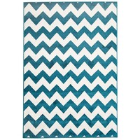 Rug Culture Indoor Outdoor Zig Zag Flooring Rugs Area Carpet Peacock Blue 330x240cm