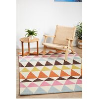 Modern Bunting Design Flooring Rug Area Carpet Multi Rust 280x190cm
