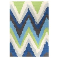 Rug Culture Ikat Chevron Blue Green Flooring Rugs Area Carpet 165x115cm