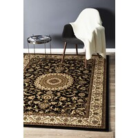 Rug Culture Medallion Runner Black with Ivory Border 150x80cm