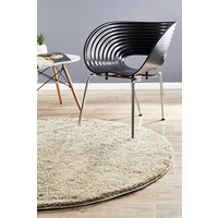 Texture Round Shag Flooring Rug Area Carpet Cream  200x200cm