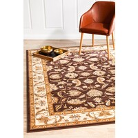 Rug Culture Stunning Formal Floral Design Runner Brown 400x80cm